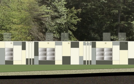 Elevation detail for IACS new modular construction