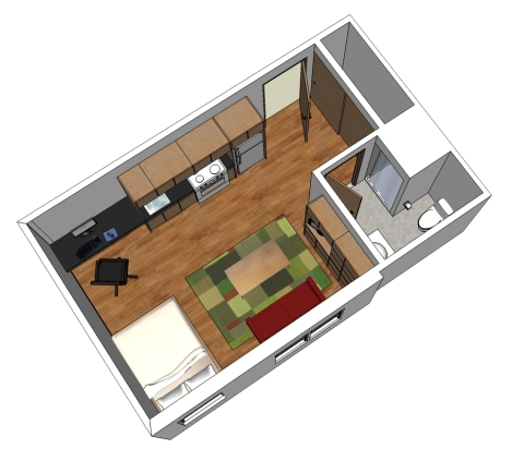 Sample micro-unit layout designed by Studio G Architects
