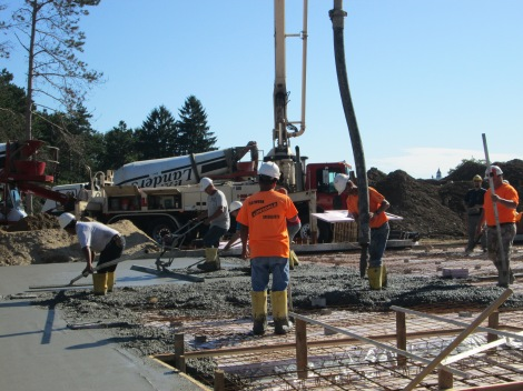 Pouring of concrete slab