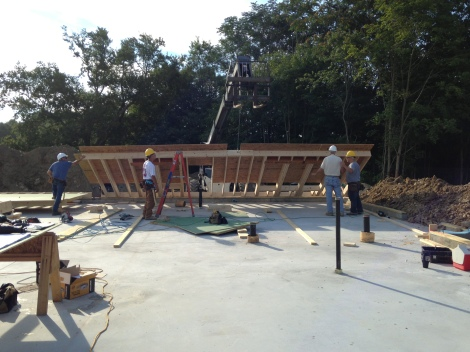 Exterior wall being lifted in place