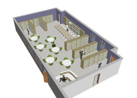 conceptual rendering of HCCS library (Studio G Architects)