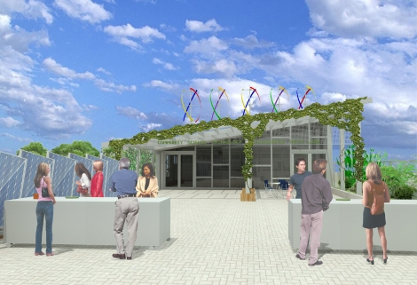 Proposed STEM lab @ BLS Sustainable Roofscape. Image by Studio G Architects
