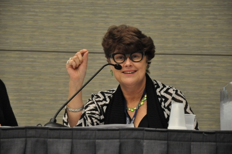 Gail Sulivan speaking at ABX 2014.  Photo credit: June Lee