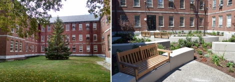 south courtyard before after in progress