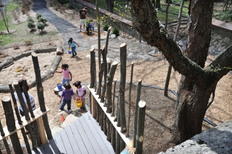 4/7/2010 10:22:37 AM -- Mattapan, MA -- Children get some supervised outdoor time in the natural play area at SPARK, a therapeutic center for children with medical needs, is one of several recently built examples of the affordable, low-maintenance, eco-friendly alternative to playgrounds that use a lot of plastic. -- Photo by Josh T. Reynolds, Freelance