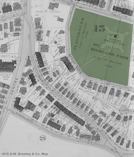 1915 Atlas of Roxbury-Bromleymap-Blackandwhite